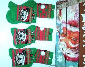 Mickey Mouse Christmas Socks wBells....Unisex, Boys and Girls,Christmas, Partywear, Photo Prop,Gingerbread,Santa,Penquins