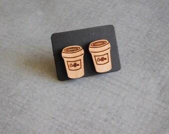 Coffee Stud Earrings : Cute Mini Wood Cup Posts