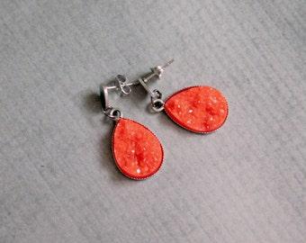 Red Agate Drop Earrings : Faux Stone Dangle Jewelry