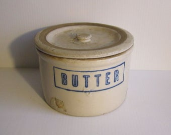 Antique Stoneware Butter Crock with Lid