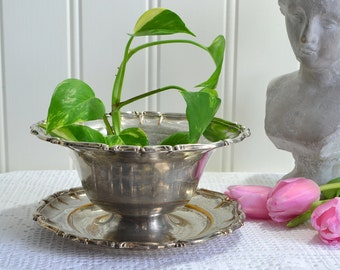 Centerpiece bowl, vintage Swedish dish with tray, tarnished shabby silver plate