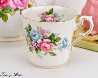 Paragon Flower Festival Mug, English Bone China Mug With Pink And Blue Roses, ca. 1952-1963