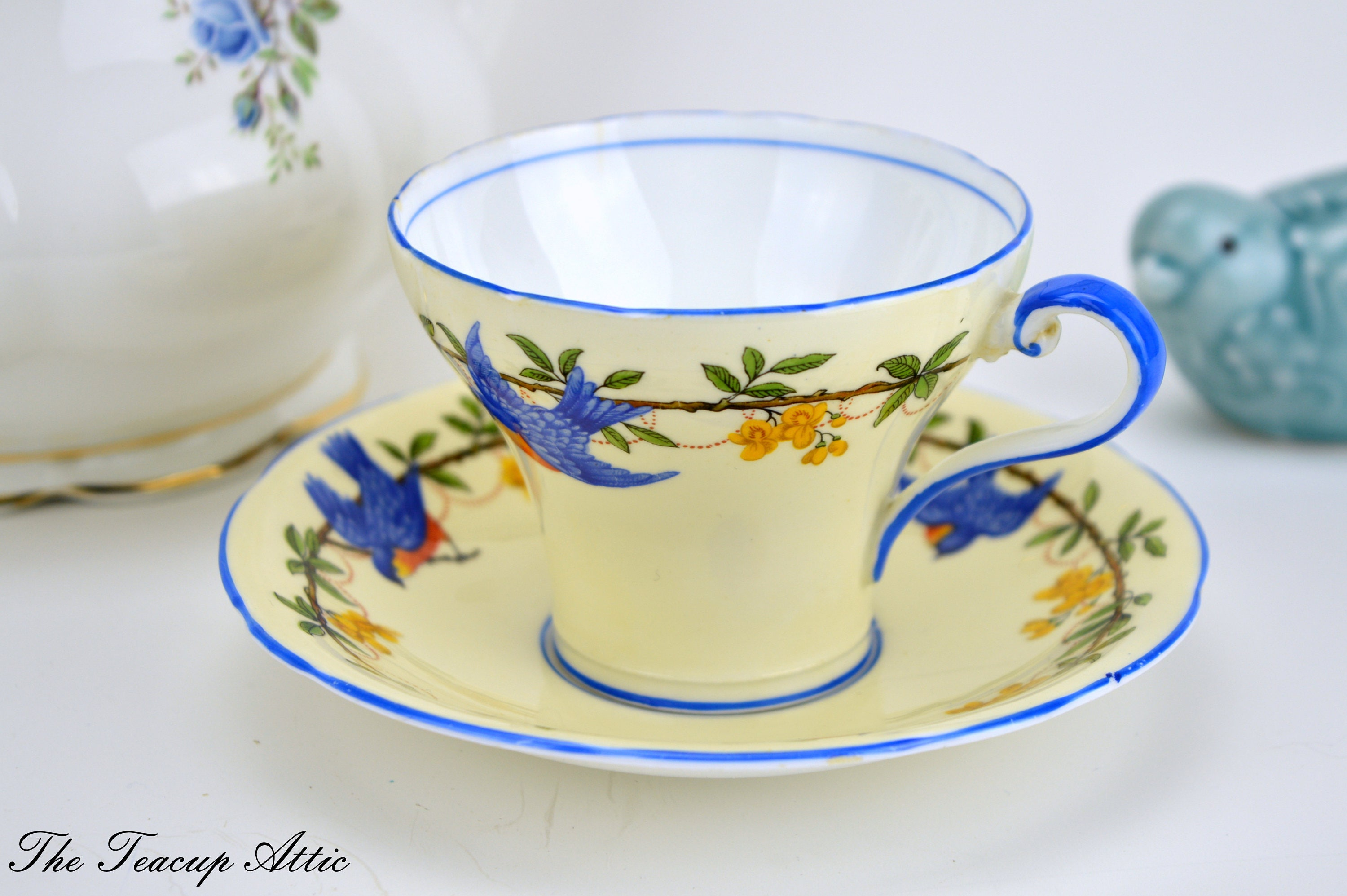 Aynsley Soft Yellow Corset Teacup and Saucer With Blue Birds,  English Bone China Tea cup Set, Tea Party, ca. 1934-1939