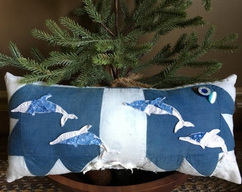 Primitive Dolphin Pillow Tuck~ Primitive Ocean Beach Sea Decor -Vintage Bear Claw Quilt Christmas gift- Colonial Blue- Happy Holidays