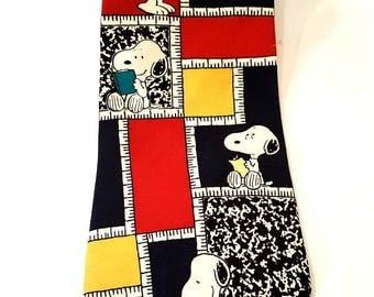 Vintage Silk Necktie Men's Snoopy Tie Teacher's Pet 1958 United Feature Syndicate