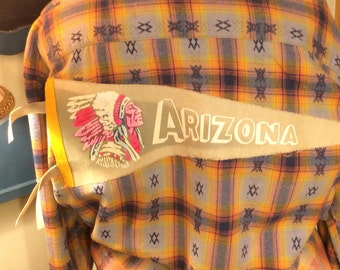 Bleach Dipped Flannel, Men's Size 2XLT, Vintage Arizona Felt Pennant Stitched to Back
