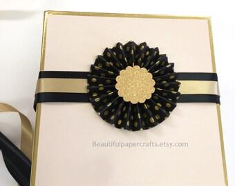 Rosette Gift Topper | New Years Eve Decor | Rosette Favor Box Topper | Paper fan Gift Packaging | Gift Wrap | Paper Rosettes | Black & Gold