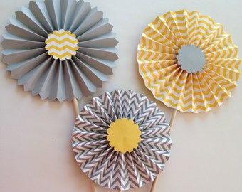Gray Chevron and Yellow Chevron Rosette Centerpieces | Gray Yellow Wedding Table Decorations | Yellow and Gray Bridal Shower | Paper Fans