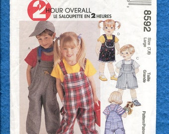 McCall's 8592 Overalls & Rompers for Kids Size LARGE 7/8 UNCUT