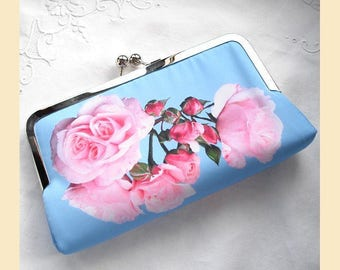 Wedding clutch bag, handmade with pink roses on blue placement print, antique brass or silver frame, bridal purse, optional personalisation