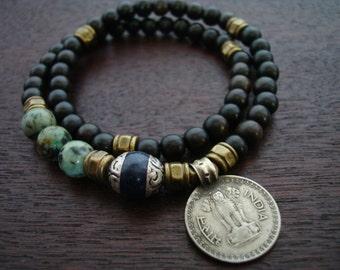 Tibetan Capped Lapis Indian Coin Mala Bracelet // African Turquoise 54 Bead Double Wrap Mala Bracelet // Yoga, Buddhist, Prayer Beads