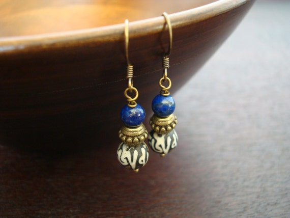 Women's Tibetan Lotus Mantra Bauble Earrings // Lapis Lazuli Lotus Mantra Earrings // Yoga, Buddhist, Jewelry, Women, Yoga Jewelry