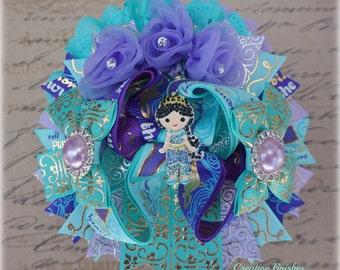 Jasmine Hair Bow, Aqua Teal Gold Bow, Princess Jasmine Outfit Accessories