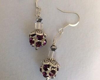 Amethyst Swarovski Elements crystal silver plated rhinestone ball, silver lacy cap, cube & chrome Swarovski crystal earrings - Sale