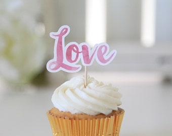 Love Cupcake Toppers, Watercolor, Wedding, Valentine's Day, 12 Toppers per 1 order