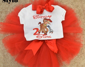 Toy Story birthday outfit, FREE SHIPPING, Jessie birthday outfit, girl clothing, birthday girl,disney outfit,red tutu set,red outfit,horse