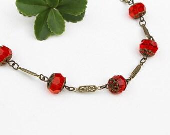 Orange Bead Necklace, Beaded Jewelry, Short Necklace, Beaded Necklace, Crystal Necklace, Gift for Her