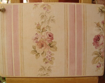 shabby old roses, vintage wallpaper image on wooden tag to hang on dresser or door knob
