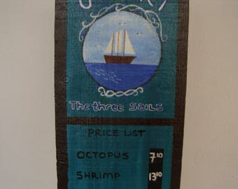 Three sails, Vintage Greek Ouzeri menu, hand-painted with acrylic watercolor on old wood ready to hang