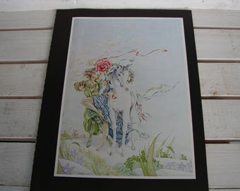 1978 vintage print, book plate,baby unicorn, children, floral mythical,ready to be framed