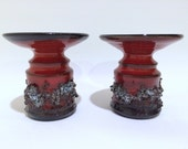 Gilt Iceland Lava Candle Holder Red ( Set of 2)