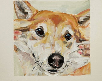 Custom Gouache watercolor pet portrait