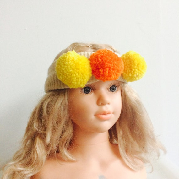 WARM 6-12 Months Headband Kids Cashmere With Pom Poms in Upcycled Wool Unisex