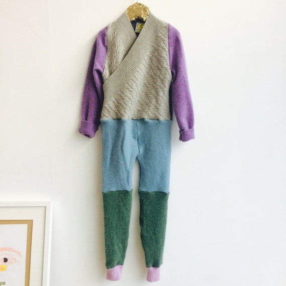 TIPTOE 6-7 Years Kids Cashmere Suit Childrens Onesie Jumpsuit One Piece Jumper Romper Playsuit Upcycled Cashmere Unisex