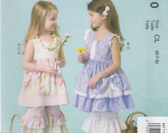 Girls' Adorable Sun Dress & Bloomers Pattern McCalls 7110 Sizes 6 7 8 Uncut