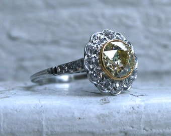 Beautiful Antique Platinum Diamond and Fancy Yellow Diamond Halo Ring - 1.93ct.