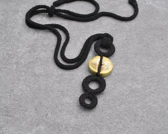 Long ceramic necklace / Black and gold necklace / Modern necklace / Ceramic jewelry  / Unique ceramic necklace / gift for her / Aliquid