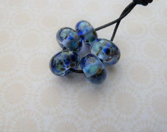 handmade lampwork glass beads, blue frit UK set