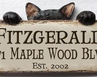 Cat Home Address Custom Sign
