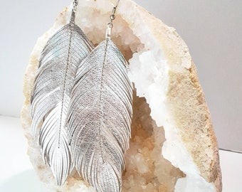 LIMITED Italian Silver Foil Leather, Feather Earring, Large Earrings, Lambskin, Leather Earring, leather Feather Earrings,  Bohemian, Boho