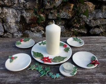 Winter candle holder, holly, ivy, poinsettia, Christmas decor