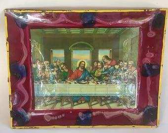 hanging last supper tray with crazy hand painted frame on glass
