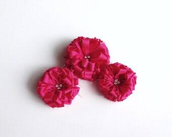 3 Fushia Fabric Flowers Embellishmen