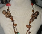 20% OFF 80's Fun, Funky and Weird Pottery Monkey Necklace w/ Seed Pod Embellishments & Turquoise Glass Beads