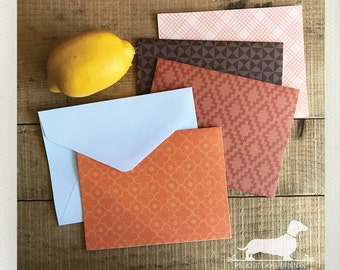 CLEARANCE! Tangerine. Note Cards (Set of 4) -- (Vintage-Style, Geometric, Orange, Brown, Coral, Thank You Card, Hello, Boho-Chic, Autumn)