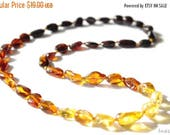 CHRISTMAS SALE Baltic Amber Necklace Rainbow Color Olive Beads 319
