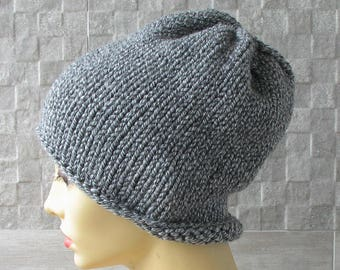 Slouchy mens hat, Men knit hat, Winter hat for men, Grey hat, Slouch hat for men, Winter hat, Chunky knit hat