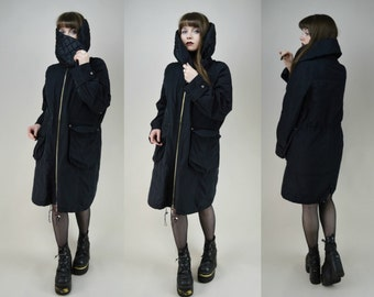 90s Cyber Goth Black Huge Collar Squall Coat S / M