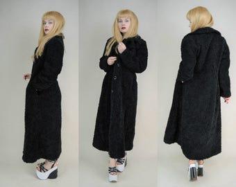 90s Grunge Goth Black Teddy Bear Faux Fur Shaggy Maxi Trench Coat M