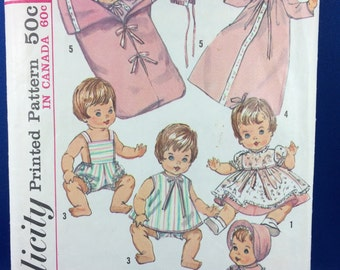 "Simplicity 5730 Pattern - Doll Wardrobe for 12"" Doll - Dress, Coat, Nightgown, Sun Suit, Bunting Bag, bonnet"