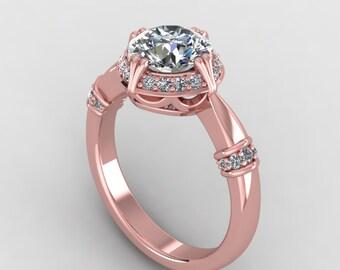 rose gold 7mm moissanite engagement ring with 0.20ct fine diamonds,custom design rings,style 117RGDM