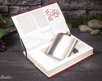 Hollow Book Safe and Whiskey Hip Flask - Art of War - Sun Tzu
