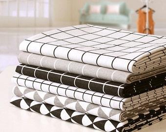 Linen Fabric, DIY Fabric, Checker Pattern, Triangle Geometric Pattern,  Black And White