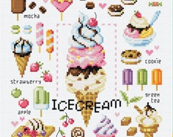 Ice cream and Popsicle cross stitch pattern and kit by Sodastitch from Korea, ice cream pops, dessert cross stitch pattern, Pop splice