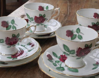 Royal Standard 'Red Velvet' vintage china tea cup trio