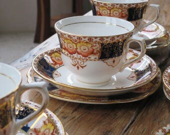 Colclough vintage china tea cup trio